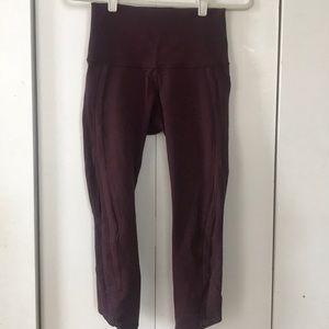 high waist maroon lululemon 7/8 length leggings